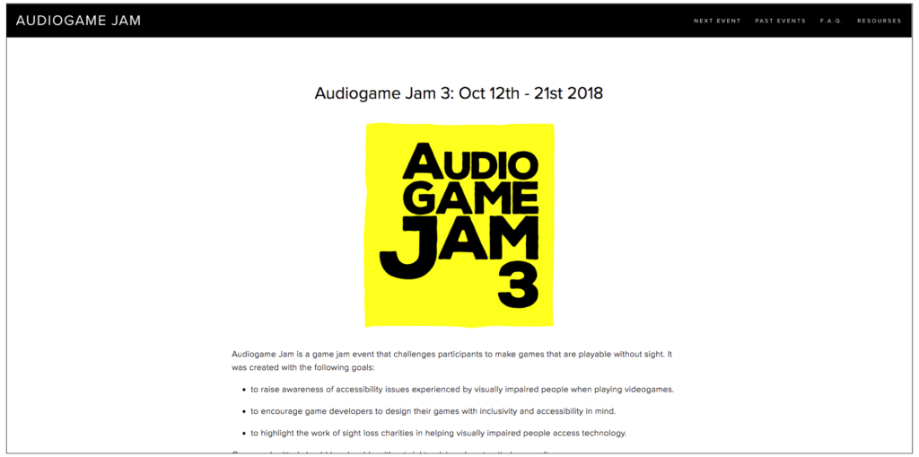 A screenshot of the Audiogame Jam website