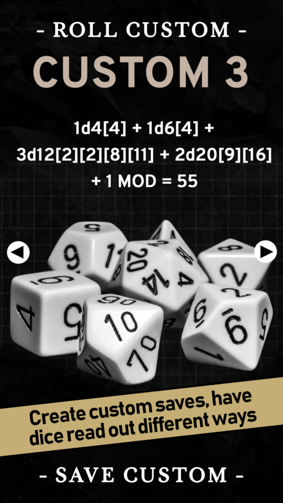 Screenshot of the custom dice roll screen in the Ready To Roll app