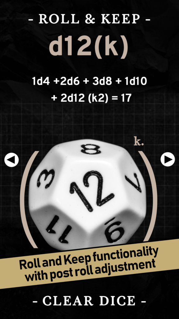 Screenshot of the d12 roll screen in the Ready To Roll app
