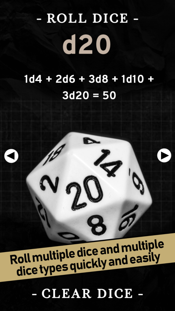 Screenshot of the d20 roll screen in the Ready To Roll app